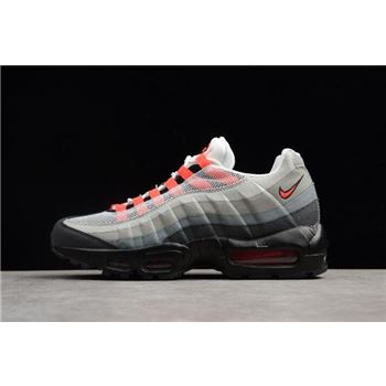 online store be274 80cc5 Nike Air Max 95 White Solar Red-Neutral Grey Men s Running Shoes 609048-