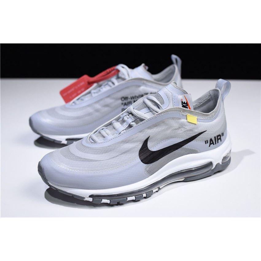 2018 Off White x Nike Air Max 97 OG Light GreyBlack White Men's Shoes Free Shipping