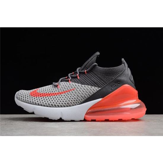 Mens and WMNS Nike Air Max 270 Flyknit Black Grey Orange